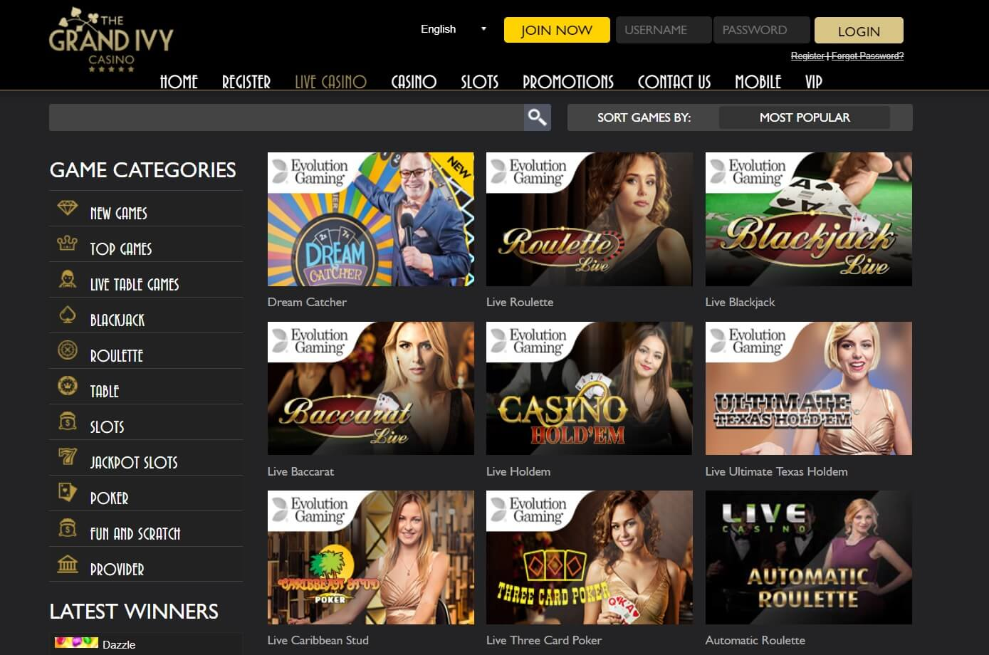 the grand ivy casino review games and live casino games
